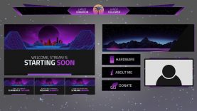 Retrowave Twitch GFX Template Pack by FadiFX